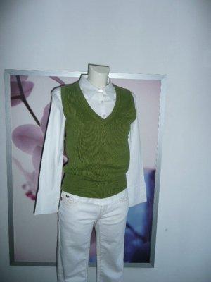 alba Moda Basic Damen V-Neck Strick Pullunder Pulli Pullover grün 36