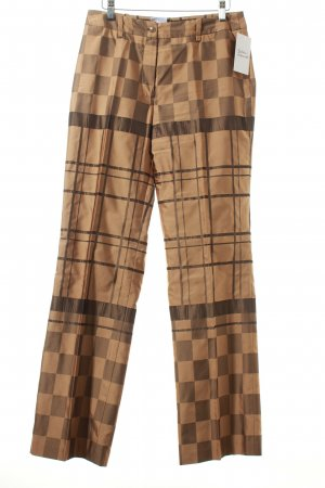 Alba Moda Pantalone a pieghe beige-nero motivo a quadri stile classico
