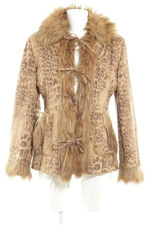 Alba Moda Chaqueta de piel estampado de leopardo estampado animal