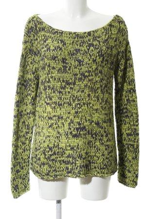 Alba Moda Pullover a maglia grossa verde-nero puntinato stile casual
