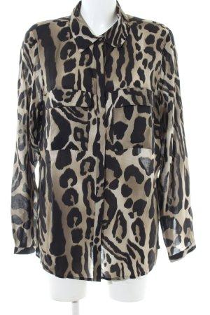 Alba Moda Blouse-chemisier noir-crème motif léopard style décontracté