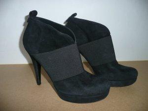 Alba Moda High Heel Stiefelette Ankle Boots Wildleder Schwarz Gr 40