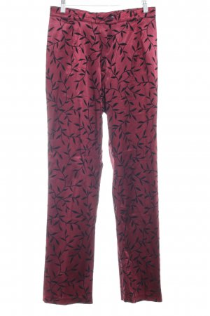 Alba Moda High Waist Trousers bordeaux-black floral pattern elegant