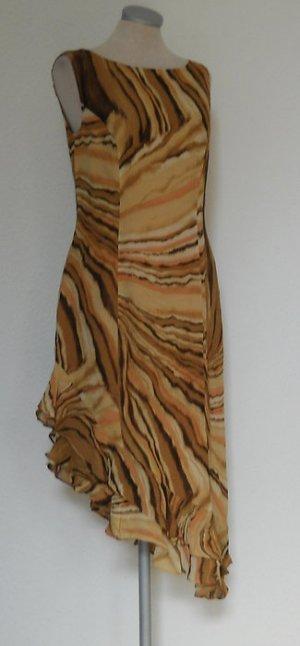 Alba Moda Kleid asymetrisch braun Gr. 36 S Milano neu Eutuikleid gerüscht Mamor