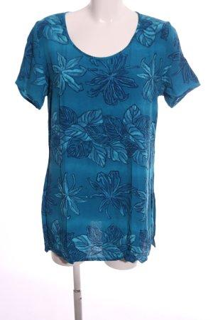 Alba Moda Short Sleeved Blouse blue-turquoise flower pattern casual look