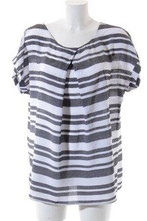 Alba Moda Kurzarm-Bluse grau-weiß Streifenmuster Casual-Look