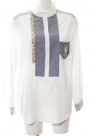 Alba Moda Blouse met lange mouwen wit-blauw zakelijke stijl