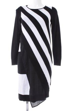 Alba Moda Jurk met lange mouwen zwart-wit gestreept patroon casual uitstraling