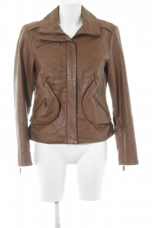 Alba Moda Leather Jacket cognac-coloured classic style