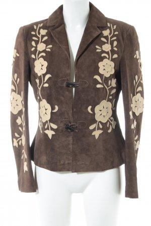 Alba Moda Leather Jacket brown-natural white flower pattern casual look