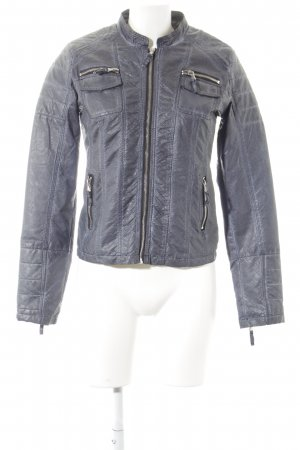 Alba Moda Leather Jacket slate-gray biker look
