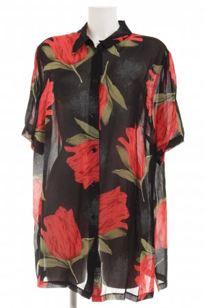 Alba Moda Long-Bluse schwarz-rot Blumenmuster Transparenz-Optik