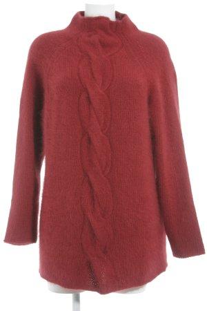 Alba Moda Long Sweater dark red cable stitch casual look