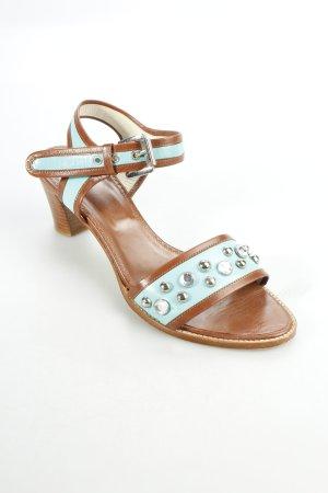 Alba Moda Riemchen-Sandaletten braun-hellblau Eleganz-Look