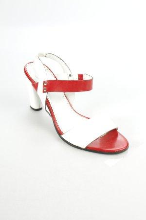 Alba Moda Riemchen-Sandaletten weiß-ziegelrot Eleganz-Look
