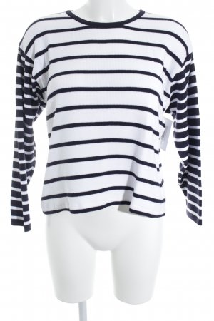 Alba Moda Rundhalspullover weiß-dunkelblau Streifenmuster klassischer Stil