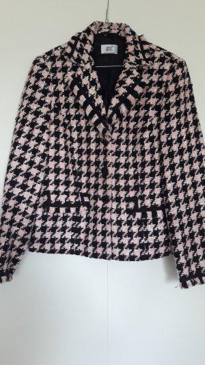 Alba Moda Schicker kurzer Blazer 60s Stil Hahnentritt Bouclé rosa schwarz Gr. 38