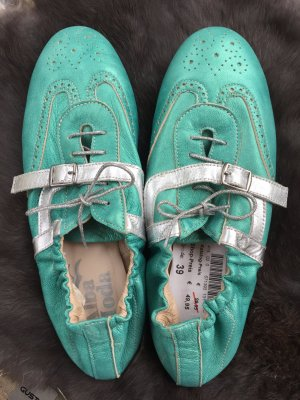 Alba Moda Lace-Up Sneaker silver-colored-turquoise leather