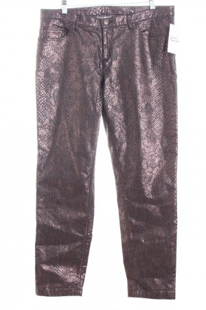 Alba Moda Slim Jeans schwarz-hellbraun Leomuster Casual-Look