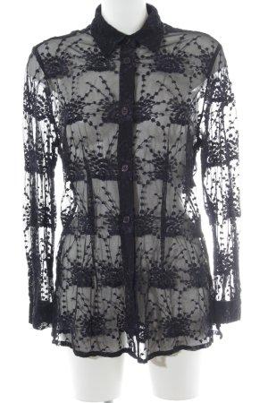 Alba Moda Spitzenbluse schwarz-dunkelviolett Romantik-Look