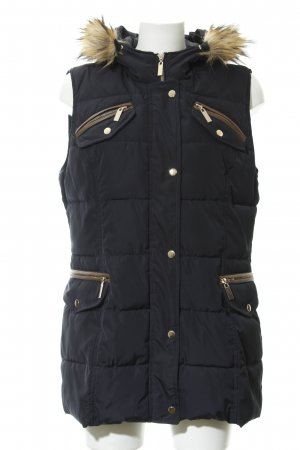 Alba Moda Quilted Gilet dark blue quilting pattern casual look