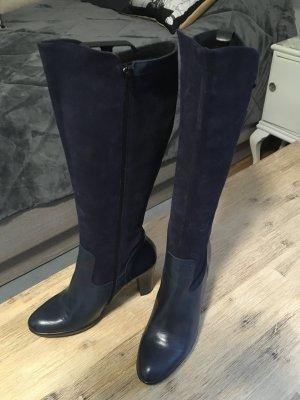 Alba Moda Stiefel High Heels 41 Wildleder Glattleder Marine Blau