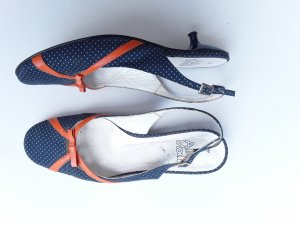 Alba Moda Strapped High-Heeled Sandals blue-neon orange textile fiber
