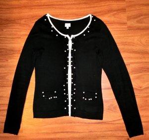 Alba Moda Strickjacke schwarz weiß Steine 34 top Zustand
