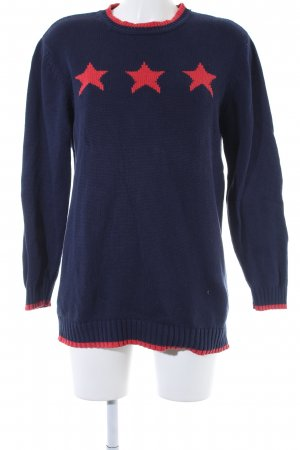 Alba Moda Knitted Sweater blue-red star pattern casual look