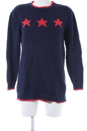 Alba Moda Strickpullover blau-rot Sternenmuster Casual-Look