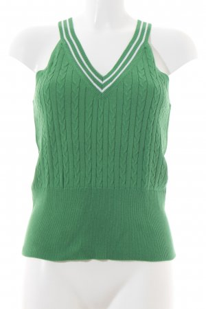 Alba Moda Knitted Top green-white cable stitch retro look