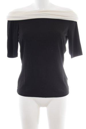Alba Moda Boothalsshirt zwart-room colour blocking klassieke stijl