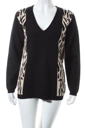 Alba Moda V-Ausschnitt-Pullover Leomuster extravaganter Stil