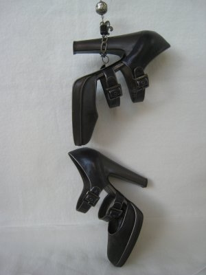 Alberta Ferretti Booties brown violet-anthracite leather