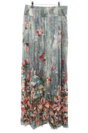 Alberta Ferretti Maxi Skirt light grey flower pattern extravagant style