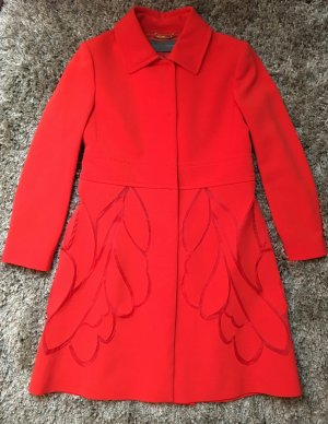 * ALBERTA FERRETTI * NEU !  eleganter MANTEL Polyester Seide orange rot Gr it. 44 / D 38  40