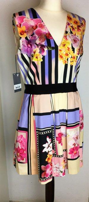* ALBERTA FERrETTI * NEU !  Mini Kleid bunt Baumwolle Kellerfalten Gr it. 46 / D  40 42