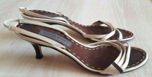 Alberta Ferretti Strapped High-Heeled Sandals oatmeal leather