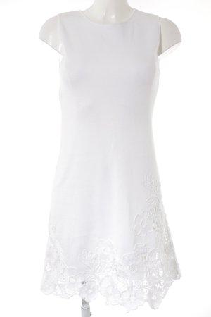 Alberta Ferretti Stretchkleid wollweiß florales Muster Romantik-Look