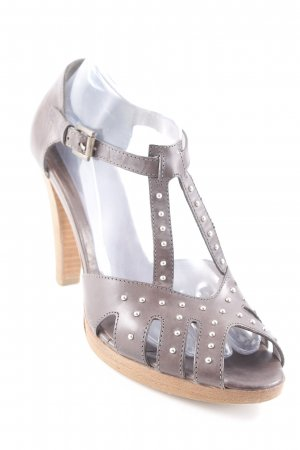 Alberto Fermani Platform High-Heeled Sandal taupe-grey brown elegant
