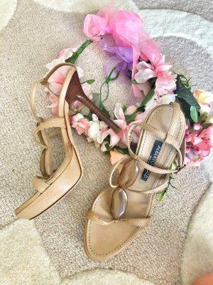 Alberto gozzi Sandaletten high heels Sandalen beige nude Leder 36 37