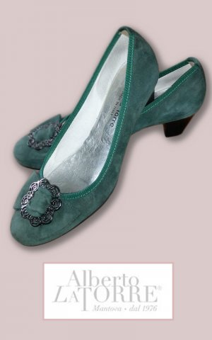 Alberto Backless Pumps silver-colored-forest green