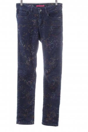 Alberto Slim Jeans blau-hellorange Allover-Druck Casual-Look