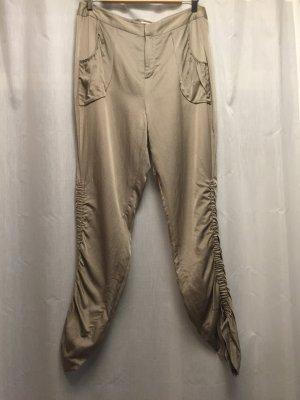 Pantalón abombado color oro-marrón arena tejido mezclado