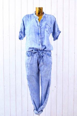 ALCHEMIST Damen Jumpsuit Overall Hellblau Batik Tencel Kurzarm Druckknöpfe Gr.38