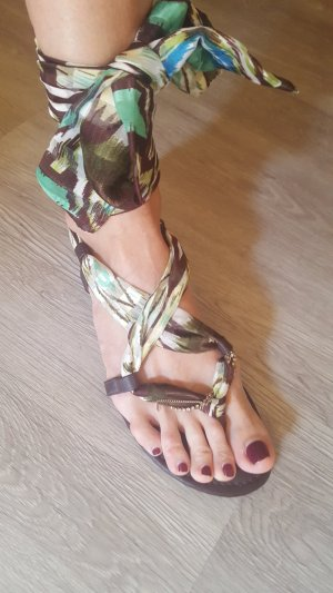 Aldo High-Heeled Toe-Post Sandals multicolored imitation leather