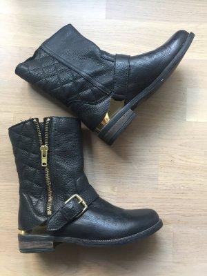 Aldo Boots / Leder Stiefeletten, 38, schwarz, gold