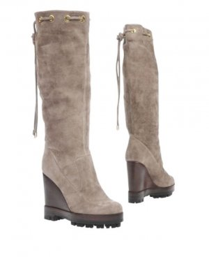 Platform Boots light grey suede