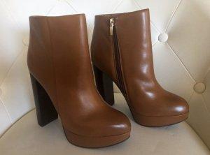 Aldo Platform Booties cognac-coloured-brown leather