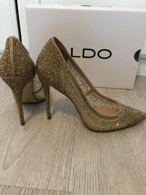 Aldo Pumps High Heels Spitz Gold Strass Cinderella